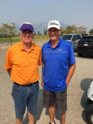 Max Neeves (on the right), OHS Class of '65 slumming it with Doug Hurst at the Thomasnado golf outing Sept 2107