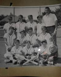 The Eagles midget baseball team. Front row L to R Steve Thon, Larry Parker, Marty Becker, 2nd Row L to R Barry Holmes, A