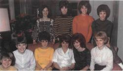 Christmas Party at Kathy Low's home - 1965. Top Row (L to R) Elynn Bayer, Anita Edman, Kathy Low, Bonnie Williams F